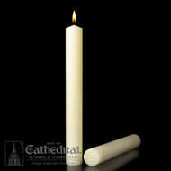 Small diameter Longer Burning, guaranteed and stamped. 51% Beeswax candles feature a dimensional design and are expertly crafted for table altars. Insistence on the finest beeswax is long-standing because the wax is symbolic of the purity of Christ himself. Self-fitting or plain ends. Bulk pricing available for 4 or more cases. Please call 800 523 7604 for pricing.