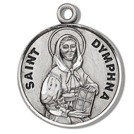 "Saint Dymphna Medal- Round St. Dymphna w/18"" Chain - Boxed. Made of only the finest materials, our Medals are all sterling silver with a genuine rhodium-plated,stainless steel chain in a deluxe velour gift box. Engraving available. Made in the USA"