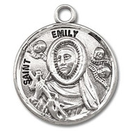"Round Sterling silver St. Emily medal/pendant comes on an 18"" Genuine rhodium plated fine curb chain. Medal comes in a deluxe velvet gift box. Engraving Available"