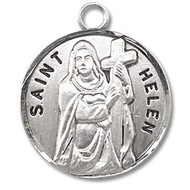 """Saint Helen Medal - Sterling silver Round St. Helen medal/pendant comes on an 18"""" Genuine rhodium plated fine curb chain. Dimensions: 0.9"""" x 0.7""""(22mm x 18mm) Weight of medal: 3.3 Grams.  Included is a deluxe velvet gift box. Engraving Available"""