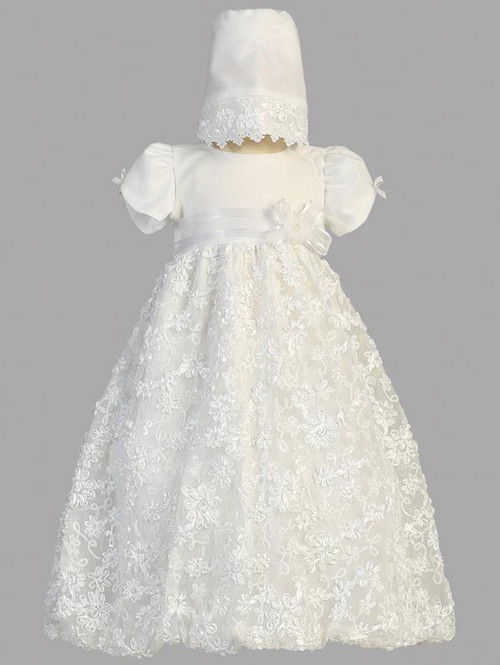 Amber ~ A gorgeous embroidered satin ribbon tulle Christening dress with bonnet. Sizes : 0-3m (7-12lb), 3-6m (12.5-16lbs) , 6-12m (16.5-20lbs), 12-18m 24.5-27lbs). Made In USA