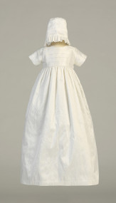 Gown depicted with Girl's Hat with ruffle-Jamie ~  Raw Silk heirloom gown with two hats (boy and girl)  Sizes : 0-3m, 3-6m, 6-12m, 12-18m. Made in USA. Can be embroidered with name and date of christening . Please allow two - three weeks for processing. No Returns