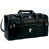 "Simulated Leather Deluxe Travel Bag, with four zippered pockets. Size: 22"" W x 12"" H x 11"" D.  Includes security lock with key"