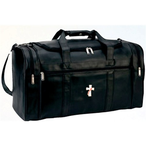 """Simulated Leather Deluxe Travel Bag, with four zippered pockets. Size: 22"""" W x 12"""" H x 11"""" D.  Includes security lock with key"""