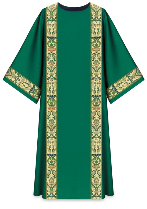 "In Brugia, soft and light fabric of 100% wool. Combination of brocade application and orphreys. ""O"" Collar. Liturgical Colors-Green, Red, White, & Purple.. These items are imported from Europe. Please supply your Institution's Federal ID # as to avoid an import tax.  Please allow 3-4 weeks for delivery if item is not in stock."