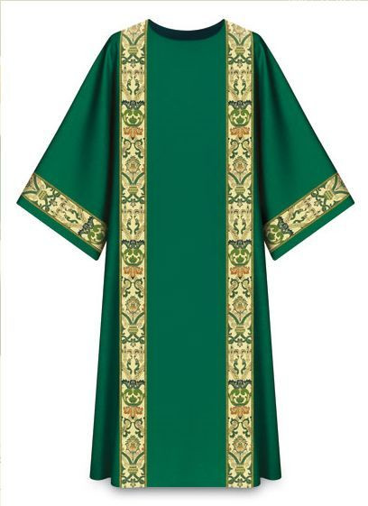 """Dalmatic 7-2749 Green-In Dupion, 70% man-made fibers and 30% viscose. Regina orphreys, a multi-colored brocade. Width 63"""", length 53"""". Plain neckline""""0"""". Available in beige, green, crimson, purple, and red. These items are imported from Europe. Please supply your Institution's Federal ID # as to avoid an import tax.  Please allow 3-4 weeks for delivery if item is not in stock."""