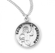 "Round St. Brendan w/20"" Chain-sterling silver St Brendan medal comes with a 20"" genuine rhodium plated curb chain. A deluxe velour gift box is included. Dimensions: 0.9"" x 0.7""(22mm x 18mm).  Engraving Option Available"