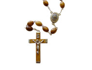 "Olive Wood Oval Rosary (8mm).Mounted on a silver plated chain with centerpiece containing Earth from Bethlehem where Jesus was born.  Rosary is about 21"" inches long. Each decade is separated by a medal. This rosary is hand made in Bethlehem, the Holy Land."
