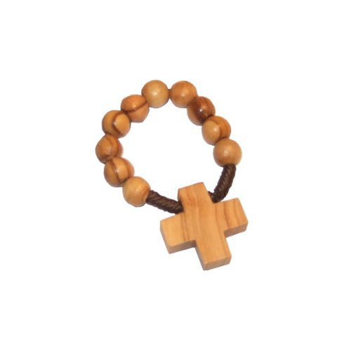 Traditional rosary ring in olive wood finish