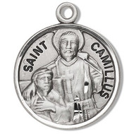 "Saint Camillus Medal ~ Round Sterling Silver with a 20"" genuine rhodium-plated, stainless steel chain in a deluxe velour gift box. Engraving Option Available"