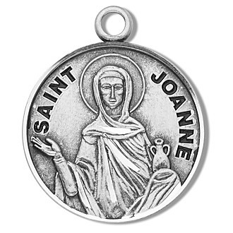 """Saint Joanne Medal ~ Round Sterling Silver St. Joanne medal/pendant comes on a 18"""" genuine rhodium-plated, stainless steel curb chain. A deluxe velour gift box is included. Made in the USA. Engraving Option Available"""