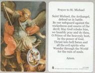 Laminated prayer card with enameled image medal design on card. Prayer on reverse side. Approximately 2 1/4 x 3 1/4 inches. Printed in Italy