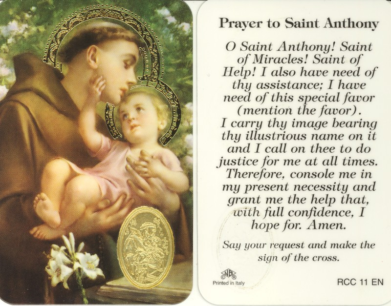 St. Anthony, Prayer Card with Embossed Medal - St. Jude