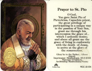 Padre Pio, Prayer Card with Embossed Medal