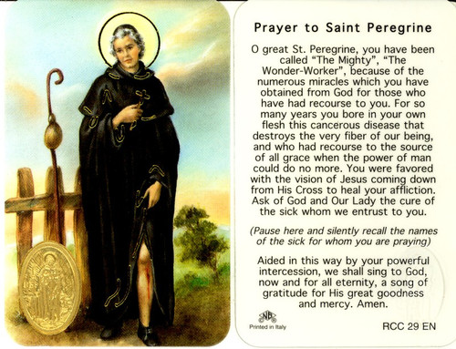 Laminated prayer card with gold foil embossed medal design on card. Prayer on reverse side. Approximately 2 1/4 x 3 1/4 inches. Printed in Italy