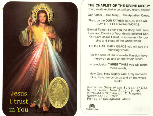 Laminated prayer card with gold foil embossed medal design on each card. Prayer on reverse side. Approximately 2 1/4 x 3 1/4 inches. Printed in Italy
