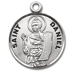 """Saint Daniel Medal ~ Round 7/8"""" Sterling Silver with a 20"""" genuine rhodium-plated, stainless steel chain in a deluxe velour gift box. Engraving Option Available. Made in the USA"""