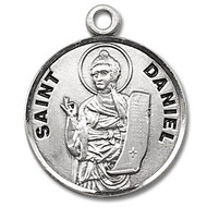 """Saint Daniel Medal ~Round 7/8"""" Sterling Silver with a 20"""" genuine rhodium-plated, stainless steel chain in a deluxe velour gift box. Dimensions: 0.9"""" x 0.7""""(22mm x 18mm) Weight of medal: 3.3 Grams. Engraving Option Available. Made in the USA"""