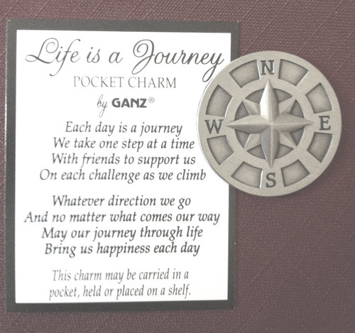 """1 1/4"""" Pewter """"Life is a Journey"""" Compass Pocket Token"""