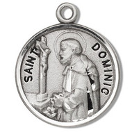 "St Dominic Round 7/8"" medal. Medal is sterling silver and comes with a 20"" genuine rhodium plated curb chain.  Medal presents in a deluxe velour gift box.  Made in the USA. Engraving option available."