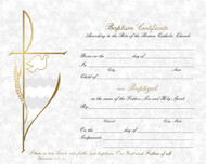 "Pre Printed Certificates Size 8"" x 10"" Gray Parchment Baptism Certificate (Gold Foil) ~ 50 per box. Preprinted or Laser Compatible (HG226) Matching Holy Cards available Size: 2-3/4"" x 4-1/4"" 100 per box (XB107) Matching Godparents Folder available Size: 5"" x 7"" 100 per box Gold foil (BA215) Rite of Baptism Booklet"
