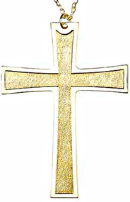 """4-1/4""""  Gold Plated Pectoral Cross. 28"""" gold plated chain in gift box"""