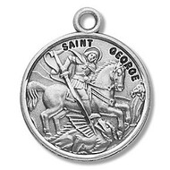 "St. George Round 7/8"" medal. Medal is sterling silver and comes with a 20"" genuine rhodium plated curb chain.  Medal presents in a deluxe velour gift box.  Made in the USA. Engraving option available"