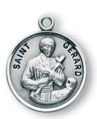 """Round Sterling Silver St. Gerard medal/pendant comes on a 20"""" genuine rhodium plated curb chain. Saint Gerard is the Patron Saint of pregnancy and safe delivery. Dimensions: 0.8"""" x 0.7""""(21mm x 18mm) Weight of medal: 3.3 Grams. Made in the USA.  Engraving Available"""