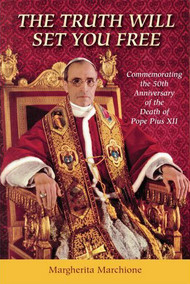 The Truth Will Set You Free commemorates the 50th anniversary of the death of Pope Pius XII (October 9, 1958). On the fiftieth anniversary of the death of Pius XII, Sr. Margherita Marchione recalls the outstanding contribution that his life made to the world. Sr. Margherita has long been in the forefront of the battle to restore the reputation of this contribution of Pope Pius XII to its saintly rank. This selection of her writings and of others bears testimony to her passion for truth.  Her work issues a challenge to all Catholics to learn the truth and speak out courageously. It adds a new level of information concerning the work carried out by this dedicated servant of God.