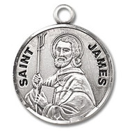 "St. James Round 7/8"" medal. Medal is sterling silver and comes with a 20"" genuine rhodium plated curb chain.  Medal presents in a deluxe velour gift box.  Made in the USA. Engraving option available"