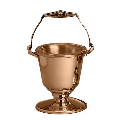 Holy Water Pot with Sprinkler. Metals available are bronze or brass. Finishes available are high polish or satin. Supplied with sprinkler and a clear plastic liner for interior of holy water pot