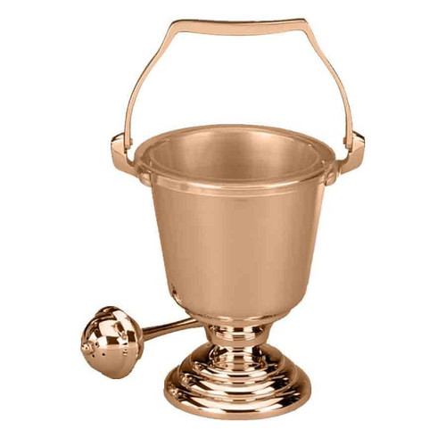High Polish Holy Water Pot is available in Brass or Bronze. Holy Water Pot comes supplied with sprinkler and a clear plastic liner for interior of holy water pot.  Oven baked for durability   Liners and sprinklers can be acquired separately
