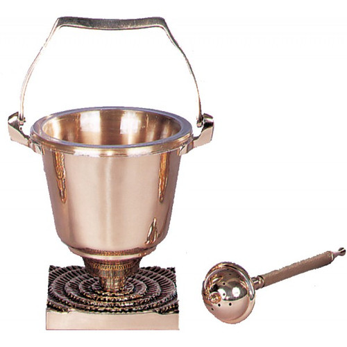Holy Water Pot comes supplied with sprinkler and  clear plastic liner for interior of holy water pot. Metals available are bronze or brass. Finishes available are high polish or satin. Oven baked for durability. Liners and sprinklers can be acquired separately