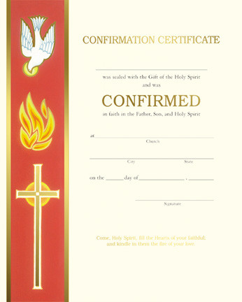 Pre Printed Certificates of Confirmation, Banner Style
