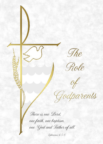 "5"" x 7"" Godparents Folder for Baptism Certificate XB102 100 per box (Gold Ink). Available in Spanish"