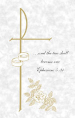 "Image of a marriage bulletin with a cross, two wedding bands, and a rose design. The bulletin features the text ""...and the two shall become one."" from Ephesians 5:31"
