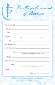 Certificate Pads for Baptism