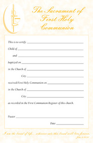 Certificate Pads for First Holy Communion