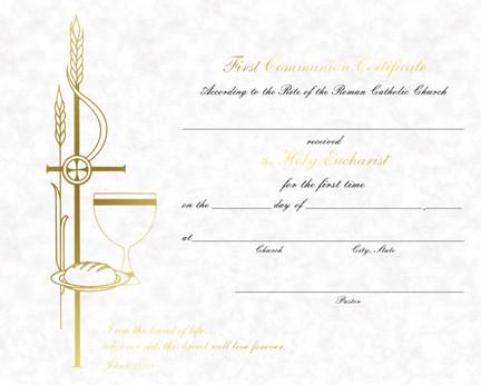 First Communion Certificates, Parchment Collection - St ...