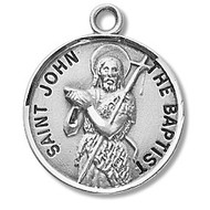 """Round St. John the Baptist Sterling silver medal with a 20"""" genuine rhodium plated chain. Comes in a deluxe velour gift box. Dimensions: 0.9"""" x 0.7""""(22mm x 18mm) Weight of medal: 3.3 Grams. Engraving option available. Made in the USA"""