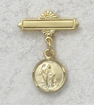 18K Gold on Sterling Silver Guardian Angel Baby Bar Pin.