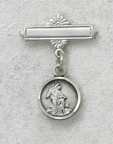 Sterling Silver Guardian Angel Baby Bar Pin