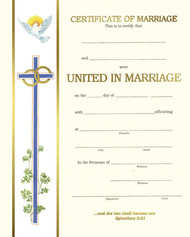 "Pre Printed certificates- ""Spiritual Collection"". Marriage Certificates.  50 - 8"" x 10"" gold foil certificates per box."