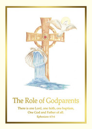 """Godparents Folder from the Spiritual Collection-5"""" x 7"""" Godparents Folder to complement Baptism Certificate XC102 or XS112. 100 per box (Gold Ink)"""