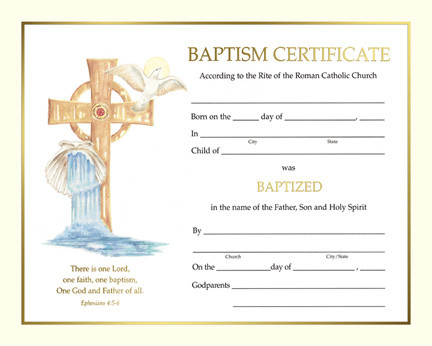 Certificate Of Baptism Spiritual Collection St Jude
