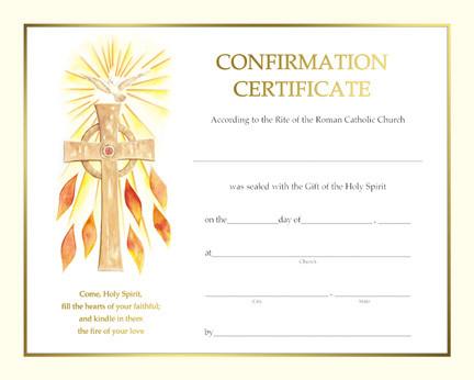 Spiritual Certificate of Confirmation, Pre Printed