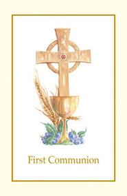 "5-1/2"" x 8-1/2"" (folded) Communion Bulletins. 100 bulletins per box. Gold Ink. Coordinating Certificates (XS 103, XS 113),  Holy Card (HG100)"