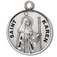 "Saint Karen Medal ~ Round sterling silver St. Karen medal/pendant. St. Karen Medal comes on an 18"" Genuine rhodium plated fine curb chain. A deluxe velour gift box is included. Made in the USA. Engraving Available"