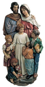 Colored wall relief with the Holy Family and children made of fiberglass.