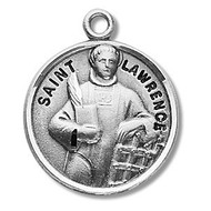 """Round sterling silver St. Lawrence medal/pendant. Medal comes on a 20"""" genuine rhodium plated curb chain. A deluxe velour gift box is included. Made in the USA. Engraving Available. Dimensions: 0.9"""" x 0.7""""(22mm x 18mm) Weight of medal: 3.3 Grams."""